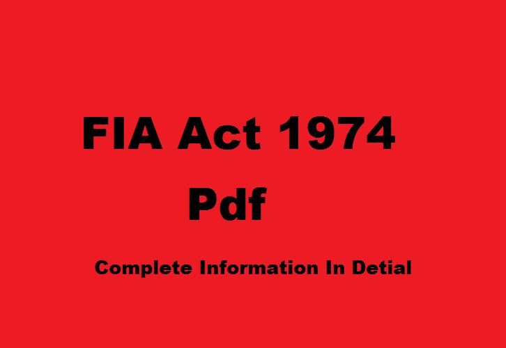 FIA Act 1974 mcqs Pdf
